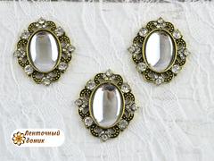 Камни овалы в оправе старое золото зеркальные прозрачные