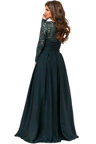 Длинное вечернее платье, изумрудного цвета 2