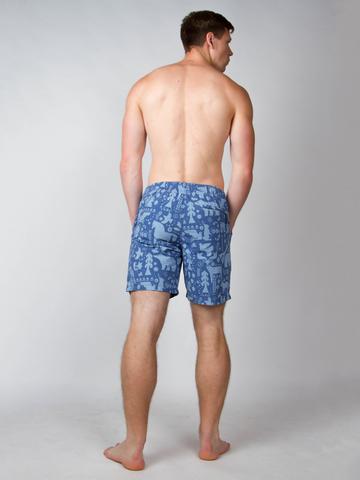 Винтажные пляжные шорты «Русский лес»