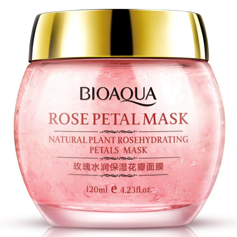 Ночная смягчающая маска для лица с лепестками роз, 120гр
