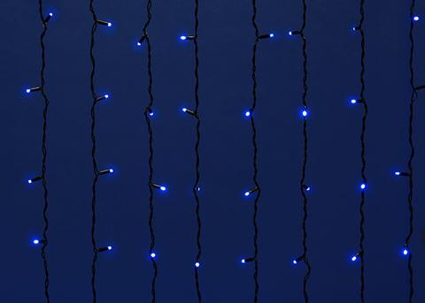 ULD-C2030-240/TBK BLUE IP67 Занавес светодиодный с эффектом мерцания, 3х2м. Соединяемый. 240 светодиодов. Синий свет. Провод черный. TM Uniel.