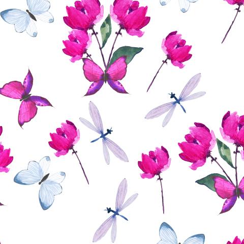 Акварельные розовые букетики,стрекозы и бабочки