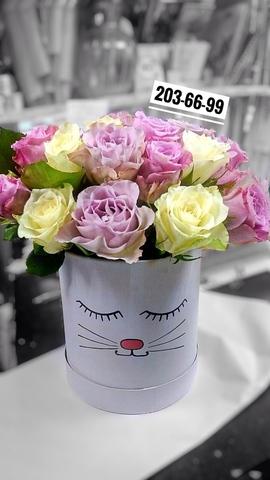 25 роз в шляпной коробке #20137