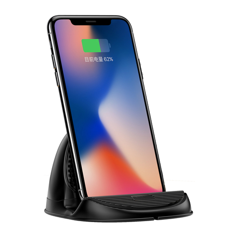Сетевая зарядка Baseus Silicone Horizontal Desktop Wireless Charger Black