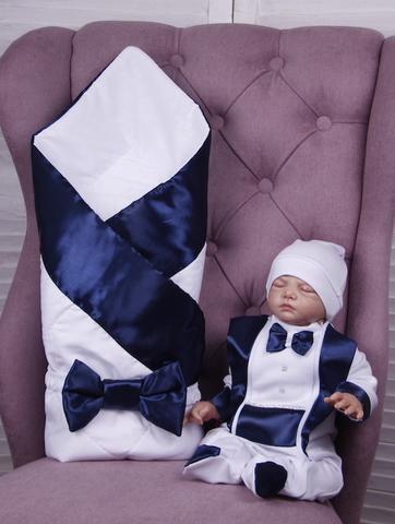 Комплект на выписку для мальчика Вилли синий