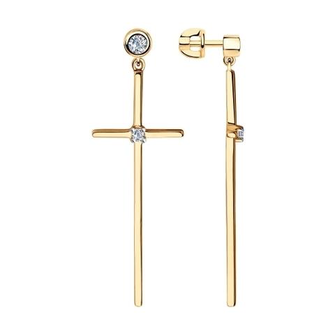 93020951 - Серьги Кресты из золочёного серебра с фианитами
