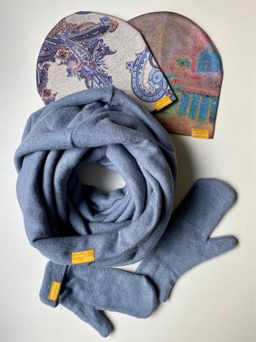 Комплект шерстяной с варежками серо-голубой с белым и пудровым с узором пейсли