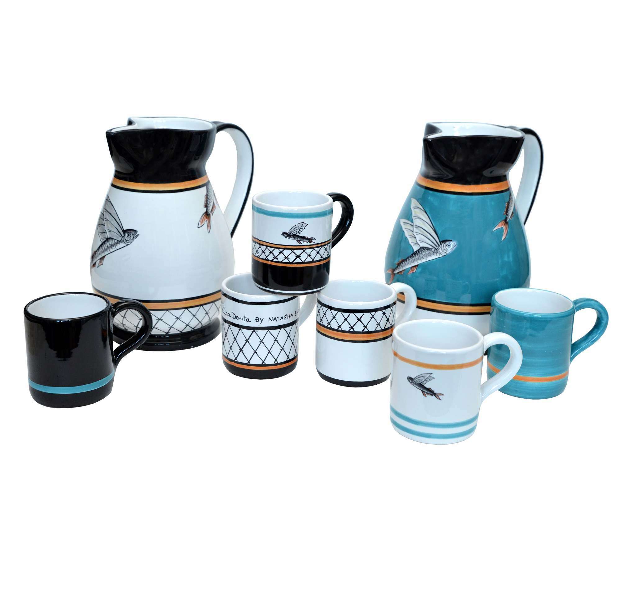 Set 1 pitcher & 4 mugs Flying Fish collection