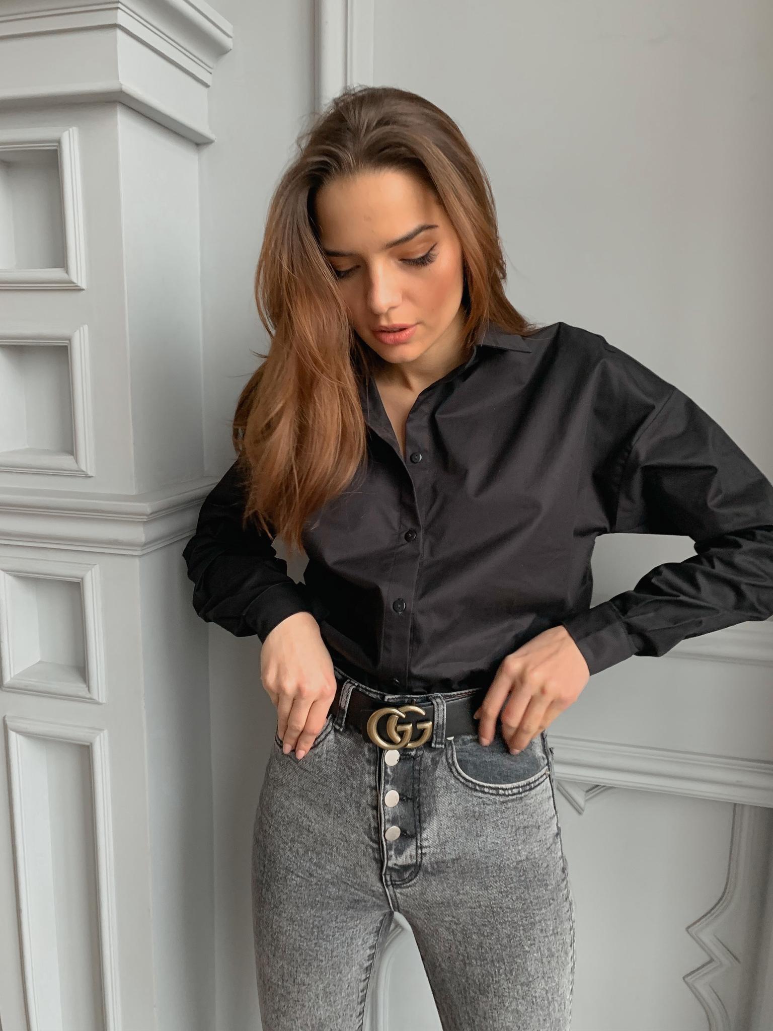 Рубашка из хлопка свободного кроя (one size) (черный)