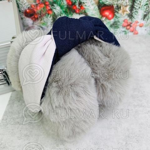 Наушники утеплённые складные с ободком-узлом цвет: серый