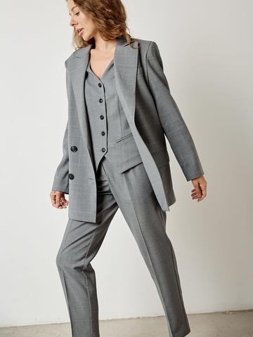 Жакет двубортный с карманами из шерсти в клетку серый
