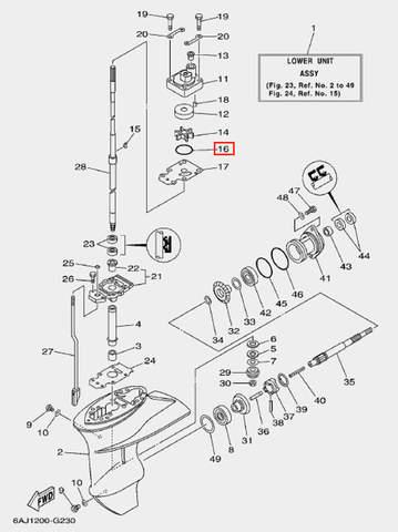 Кольцо уплотнительное корпуса помпы для лодочного мотора F20 Sea-PRO (23-16)