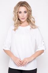 <p>Респектабельный блузон - то, что необходимо иметь в гардеробе всегда! Кристально белый цвет - отличное решение для офисных будней. Рукав реглан с манжетом на патах с пуговицами. По горловине элегантные складки.</p>