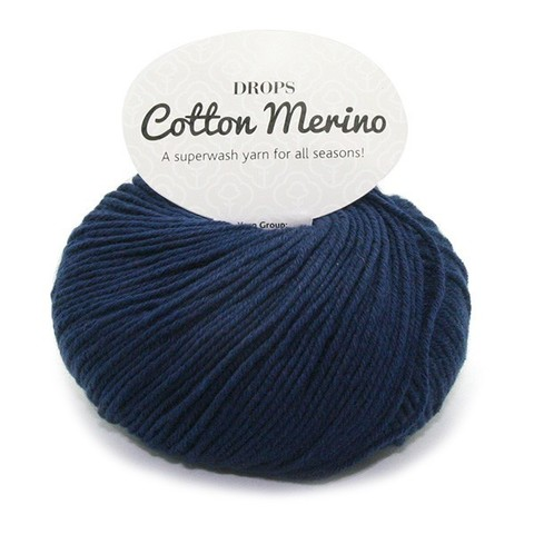 Пряжа Drops Cotton Merino 08 темно-синий
