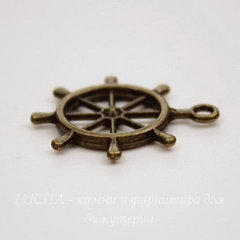 """Подвеска """"Штурвал"""" (цвет - античная бронза) 28х24 мм"""