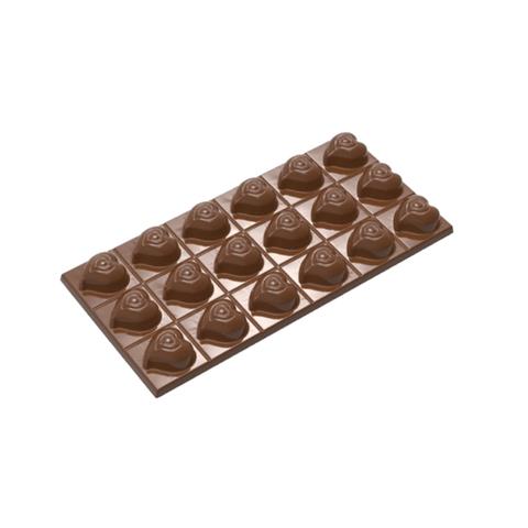 Форма поликарбонатная для шоколада - Плитка Шоколадные сердечки