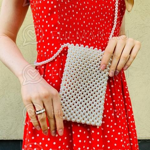 Мини-сумочка через плечо искусственный жемчуг винтажный стиль