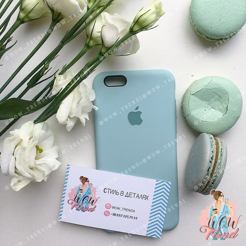 Чехол iPhone 6+/6s+ Silicone Case /mint/ мята 1:1