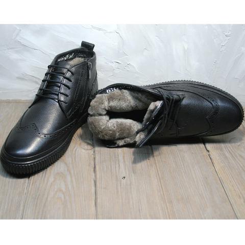 Модные ботинки зимние мужские. Черные зимние ботинки мужские кожаные с мехом Rifellini Rovigo All Black