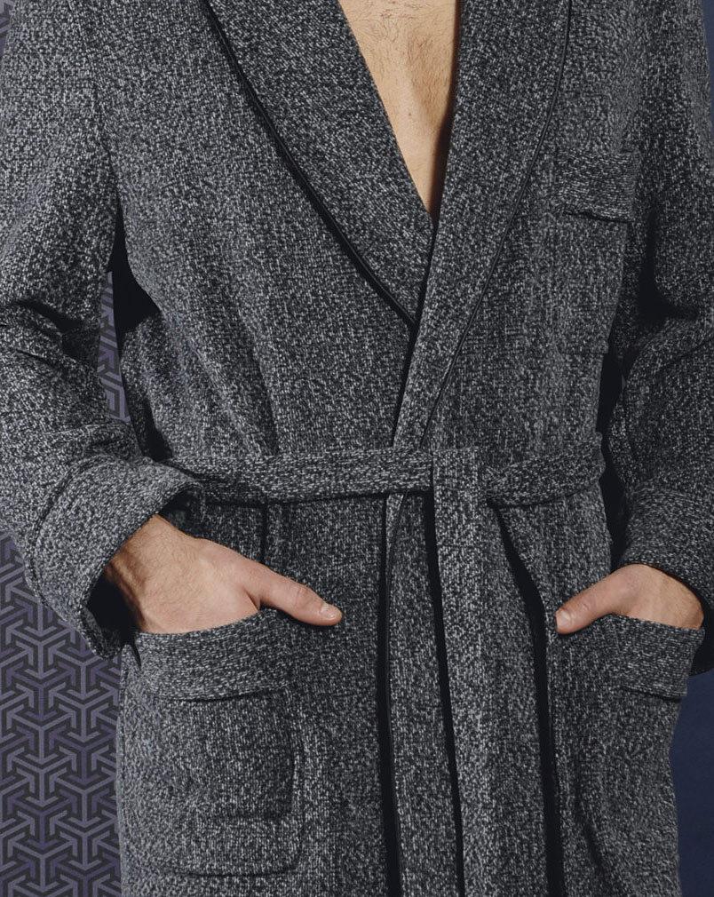 Теплый мужской домашний халат B&B