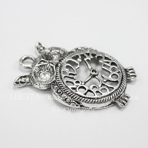 """Подвеска """"Сова-будильник"""" (цвет - античное серебро) 48х32 мм"""