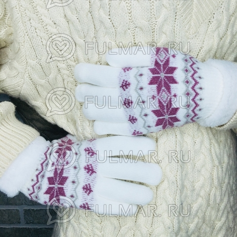 Перчатки со снежинками шерстяные женские (цвет: белый)
