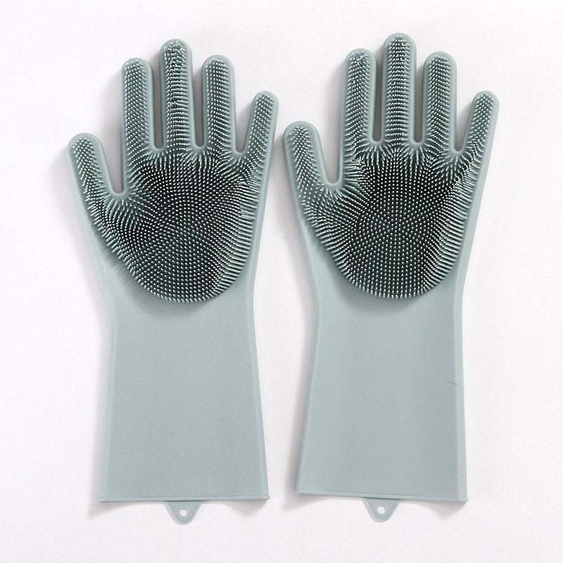 Перчатки хозяйственные силиконовые, для мытья посуды Серые фото
