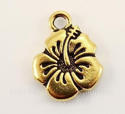 """Подвеска TierraCast """"Гибискус"""" (цвет-античное золото) 18х14 мм"""