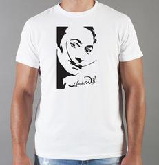 Футболка с принтом  Сальвадор Дали  (Salvador Dalí) белая 001