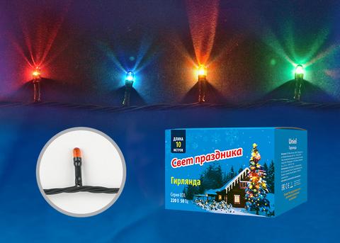 UDL-S1000-200/DGA MULTI IP20 MINI Гирлянда с контроллером, 10м. 200 миниламп накаливания. Разноцветный свет. Провод зеленый. TM Uniel.