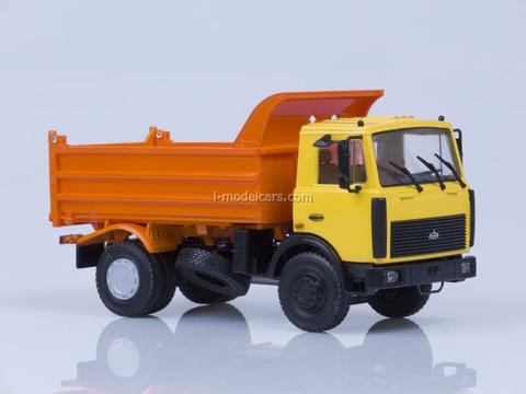 MAZ-5551 tipper later cabin 1988 high body yellow-orange AutoHistory 1:43