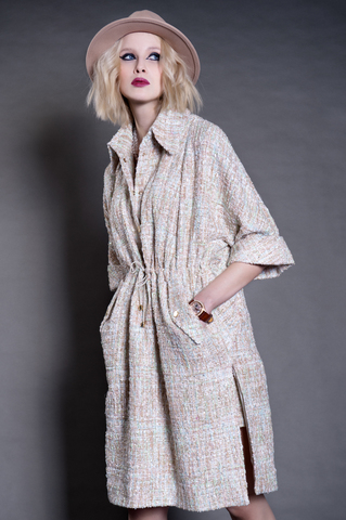 Платье - рубашка из буклированной ткани.