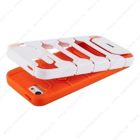 Накладка STM противоударный для iPhone SE/ 5s/ 5C/ 5 оранжевое на белом