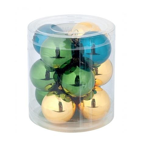 Набор шаров 12шт. (стекло), D4см,  цвет: зелено-бирюзово-золотой микс