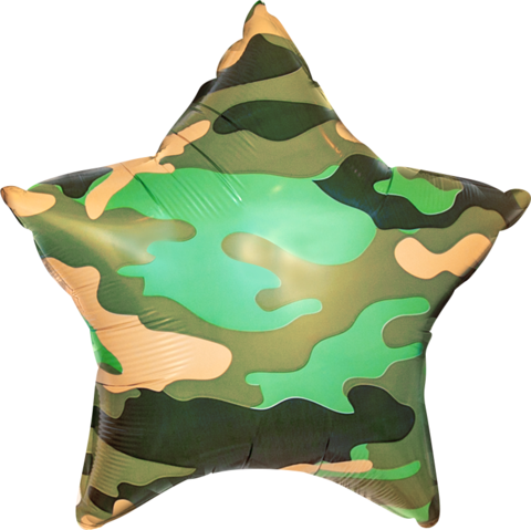 Фольгированная звезда Камуфляж зеленый