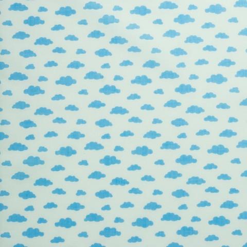 Ткань хлопковая голубые облачка на белом, отрез 50*80 см