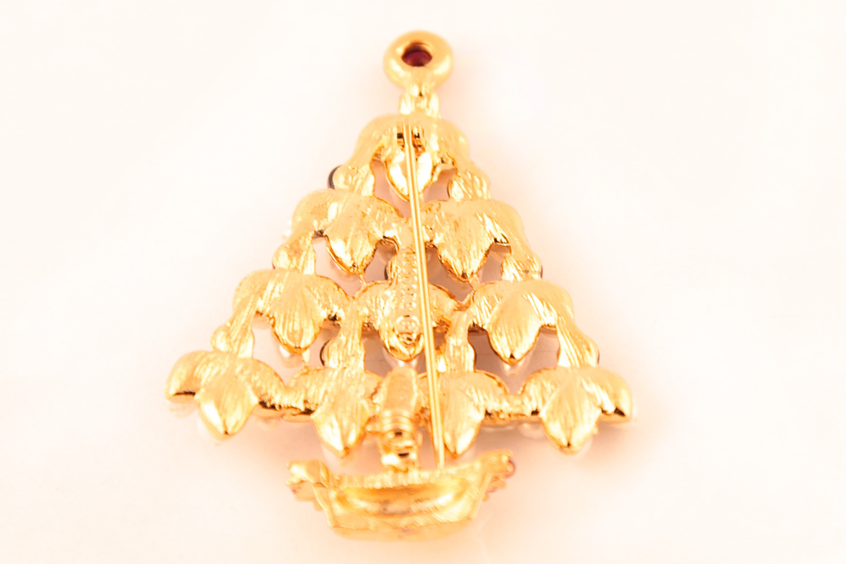 Charming Christmas tree with pearls and garnets by Swoboda