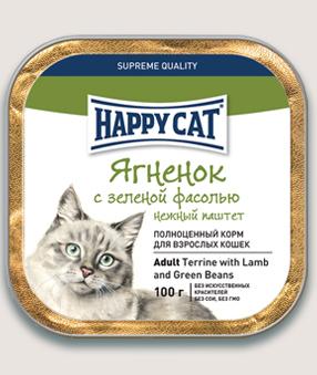 Влажные корма Паштет для кошек Happy Cat Ягненок с зеленой фасолью кусочками 9k_-14.jpg