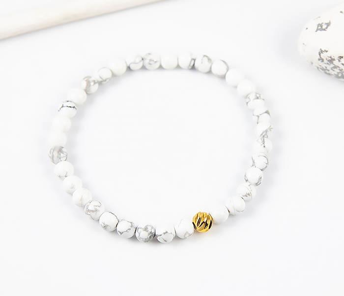 BS763 Мужской белый браслет из натурального камня кахолонга фото 02