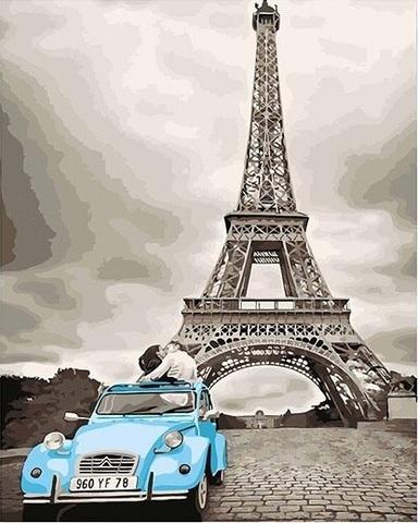 Картина раскраска по номерам 40x50 Голубая машина у Эйфелевой башни (арт. PH9241)