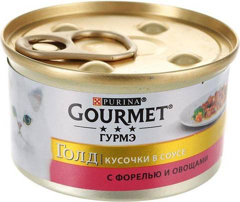 Gourmet Gold консервы для кошек кусочки в подливке (форель, овощи) 85г