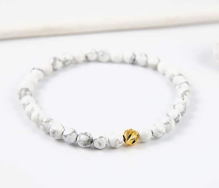 BS763 Мужской белый браслет из натурального камня кахолонга фото 04