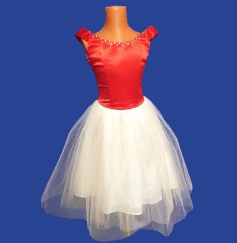 Бальное платье бело-красное