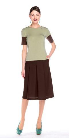 Фото коричневая юбка в складку с боковыми карманами на молнии - Юбка Б044-115 (1)