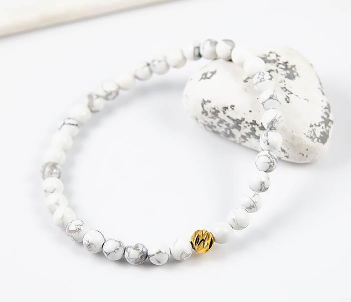 BS763 Мужской белый браслет из натурального камня кахолонга фото 05