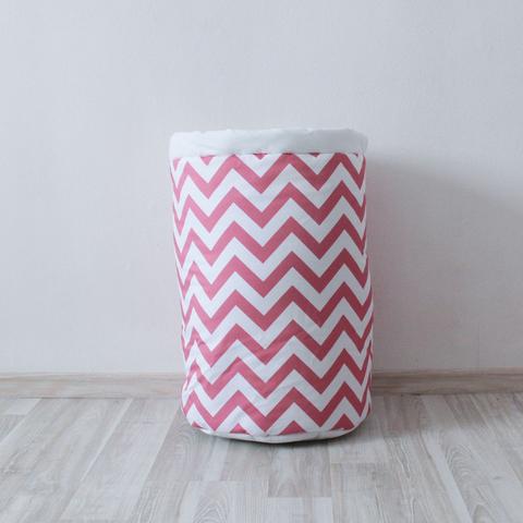 Тканевая корзина для игрушек Pink Zigzag розовые зигзаги