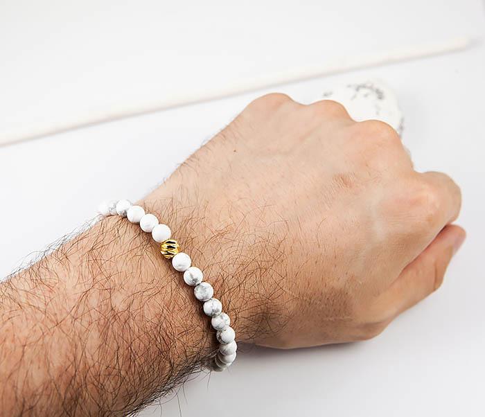 BS763 Мужской белый браслет из натурального камня кахолонга фото 06