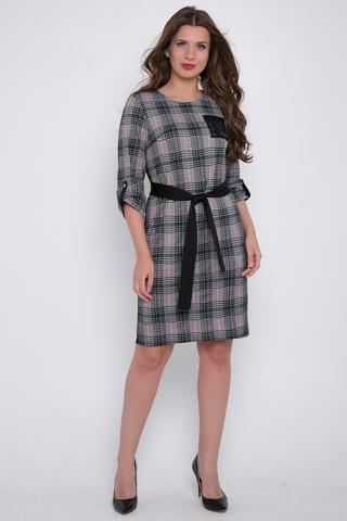 <p>Деловое платье для любительниц строгого, но эффектного образа. Рукав втачной 3/4 с патой. Накладной карман. Пояс к тон спинке, эффектно подчеркнет талию. Длины: 46-48=103см;50-52=104см</p>