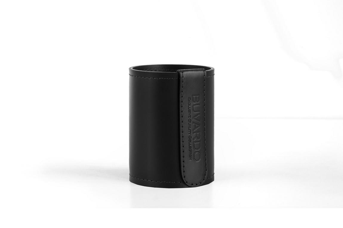 Кожаный стакан Н12 Бизнес Cuoietto (Италия) цвет черный.
