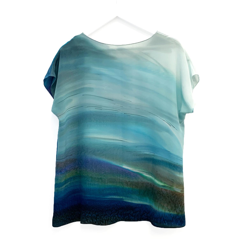 Шелковая блузка батик Морская волна